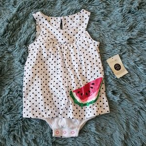 NWT Girls Watermelon Polka Dot Dress Onesie